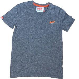 Superdry Men's Grey V-Neck Shirt Size Medium